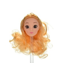 "Fashion 1Pc Golden Long Curly Hair Doll Head For Barbies 11"" Dolls Girl Gift Dolls Accessories Hot Sale(China)"