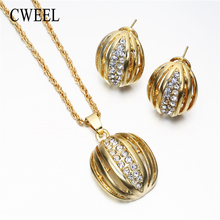 Women Wedding Gold Color Necklaces/ Pendants Imitated CZ Earrings Jewelry Sets Party Holiday Accessories Bridal Jewellery Sets