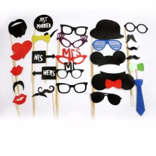 31 Pcs/Set Fun DIY/Christmas Photo Booth Prop New Style Glasses Mustache Wedding Pictures Props Christmas Party Game Supplies