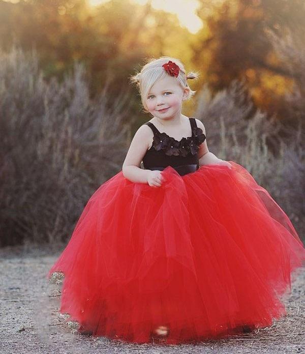 Dollbling Halloween red black Kids girls handmade Dress nice Clothes lovely baby girls wedding party bridesmaid tutu dress<br>