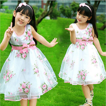 2017 new summer girls pretty bow flower celebrity princess dress 4-15 years child kids cute hot sale party vestidos clothing(China)