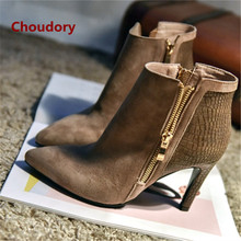 2017 Thin High Heels Choudory Shoes Woman Patchwork Point Toe Snow Ankle Boots Suede Zip Botas Snake Pattern Short Zapatos Mujer