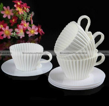 4x Silicone Cupcake Cups Cake Mould Chocolate Tea Cup Saucers Baking Muffin Mold Random Color SMB 40116905