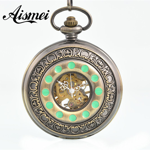 Vintage bronze Engraved Case Men Mechanical Pocket Watch With Chain Hand-Winding Best Gift Pendant green dot<br><br>Aliexpress
