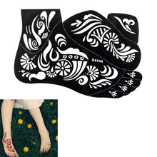 1pc New Flower Design Fashion Waterproof Henna Tattoo Sticker Temporary Women Body Art Painting Tool Tattoo Sticker Supply S410R(China)