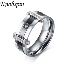 Luxury Ring men Unique design Stainless steel Jewelry Trendy CZ insert Wedding Rings for men women   Engraved anel US size 6-13