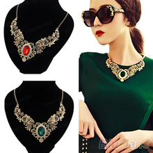 New Luxury New Women's Lady Crystal Hollow Out Flower Pattern Choker Bib Necklace Red Green Hot Selling 1NUH 6ORV(China)