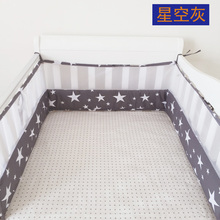 1pc Crib Bumpers Cotton Baby Bed Breathable Mesh Bumper Liner Baby Cot Sets Bed Around Protector,star crown car pink black white(China)