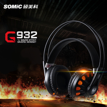 SOMIC G932 USB Gaming Headset 7.1Surround Sound channel Over Ear Headband Game Headphones High Sensitivity Mic with LED Light