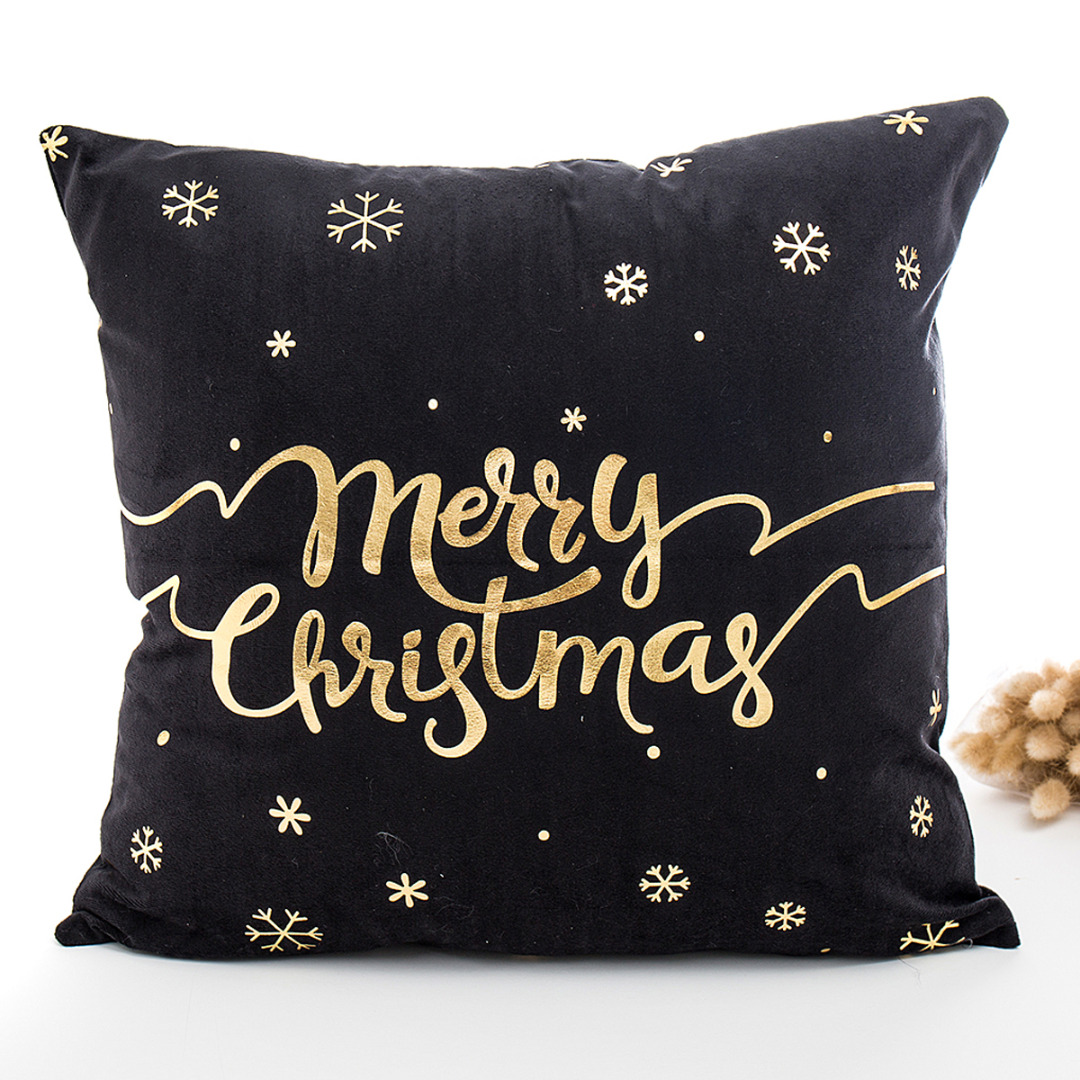 Mayitr Merry Christmas Pillow Case Black Gold Letter Square Cushion Cover Throw Pillow Cover for Bed Sofa Car Home Decoration