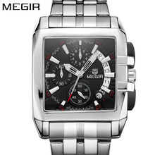 New Original Big Dial MEGIR Men Watch Luminous Quartz Luxury Stainless Steel Brand Hot Clock Business Wristwatch Men 2018(China)