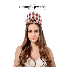 zerongE jewelry 5.2inch colorful rhinestone carnival tiara crown red shiny luxury hair jewelry tiara crown for lady(China)