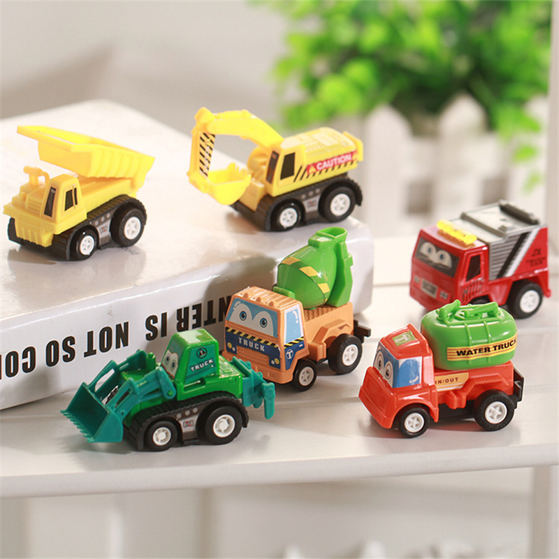 6Pcs/Lot Car Toys For Children Kids Tractor Toy Truck Autos Cute Car For Boys Pull Back Car Model Kids High Quality Toys Gifts(China (Mainland))