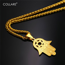 Collare Fatima Hamsa Hand Pendant Gold Color Stainless Steel Jewelry Magen David Star Accessories Ethnic Turkey Necklace P291(China)