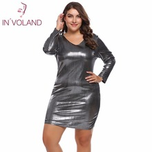 IN'VOLAND Women Dress Plus Size Autumn Sexy Solid Bodycon Slim Pencil Shiny Dresses Feminino Vestidos Mujer Robe Oversized 4XL(China)