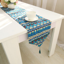 BZ371 Fashion table runner linen cotton printed table covers dustproof wedding party home table decoration high quality(China)