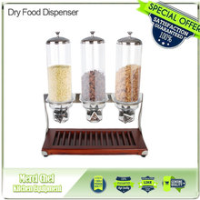 2017 New Arrival 4L x3 Wooden Base Triple Head Cereal Dispener Dry Food Dispenser fast delivery(China)