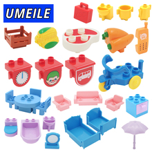 UMEILE Duplo Table Chair Cradle Lou Yi Case Building Block Accessories Home Furnishing Decoration Brick Play House Girl Toys(China)