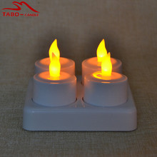 4pcs/set Amber Yellow Light Rechargeable LED Tealight Candle Lamp with Remote Frosted Holder Realistic LED Candles for Party Bar