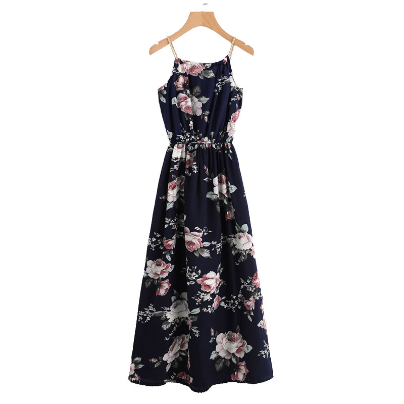 COLROVIE 2018 All Over Florals Faux Pearl Detail Cami Dress Ladies Sleeveless A Line Dress Spaghetti Strap Vacation Dress 18
