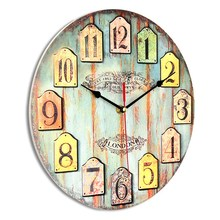 Charminer Dia 30cm Wooden MDF DIY Large Wooden Wall Clock Home Decor Shabby Chic Rustic Retro Kitchen Antique