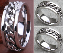 30pcs Quality Comfort-fit Men's Silver CHAIN Stainless steel SPINNRING Rings Wholesale Fashion Jewelry Job Lots(China)