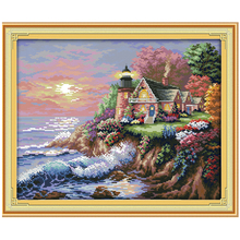 The Seaside Lighthouse Counted Cross Stitch 11CT 14CT Cross Stitch Sets Wholesale Scenic Cross-stitch Kits Embroidery Needlework