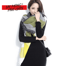 LMFC high quality plaid scarf women Winter Thicken Soft Square Oversize Blankets Luxury brand Shawl Cashmere echarpe Cape(China)