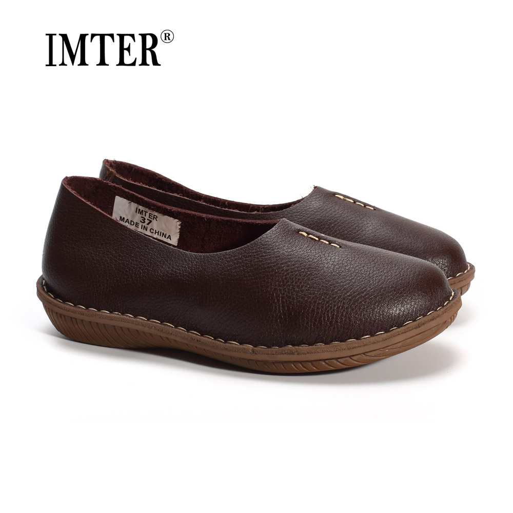 Hand-made Women Shoes Flat 100% Authentic Leather Upper Casual Slip on Ladies Flat Shoes Slip Resistance Rubber Sole (568-7)<br>