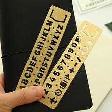 1pc Numbers&letters Multifunctional Hollow Ruler Drawing Graffiti Template Brass Promotional Gift Stationery PDA