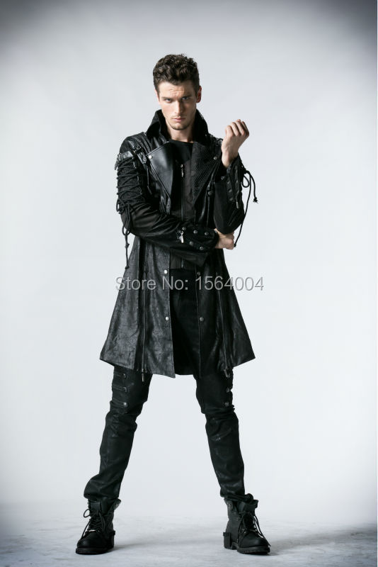 Punk Rave Gothic  Man-made Leather Rock studded  Cotton Jacket Coat Streampunk HoodieLot S-3XL