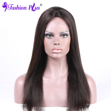 Fashion Plus Full Lace Human Hair Wigs Malaysian Virgin Hair Straight Full Lace Wigs With Baby Hair(China)