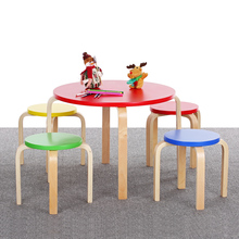 iKayaa Cute Solid Wood Round Kids Table and 4 Chairs Set Furniture 50KG Load Capacity Toddler Children Activity Table Set(China)