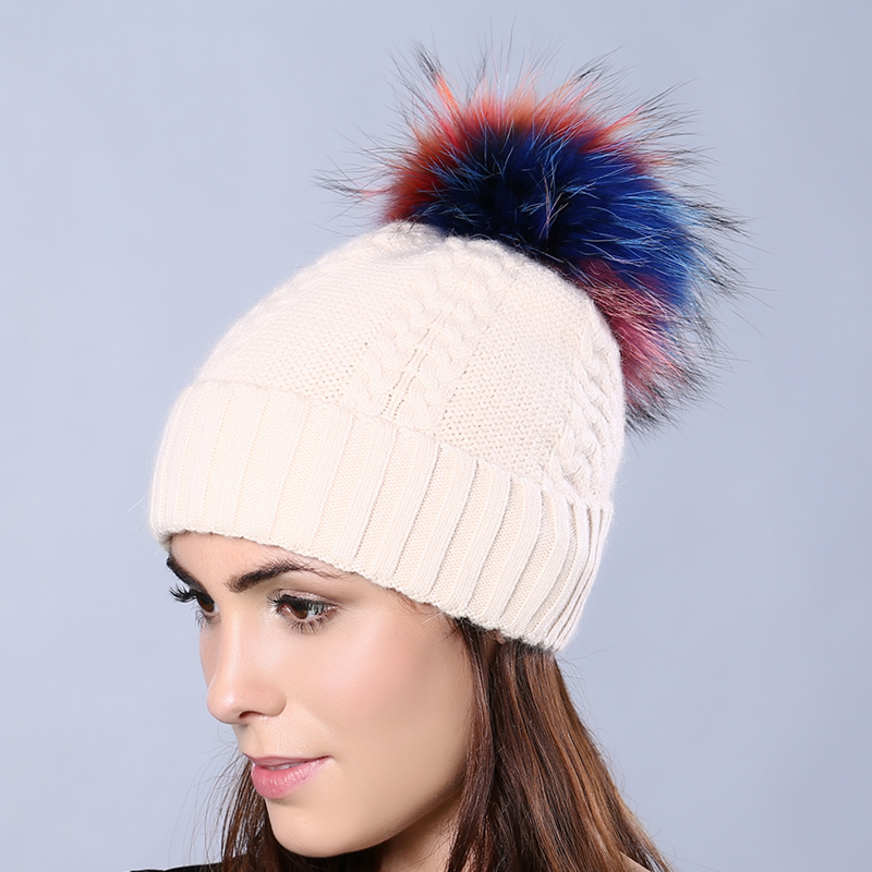 Women Winter Wool Knitted Skullies &amp; Beanies with Multi-color Raccoon Fur Pompoms Genuine Mink Fur Ball Rabbit Fur Female HatОдежда и ак�е��уары<br><br><br>Aliexpress