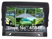 7 Inch Car TFT LCD Rear View Monitor H Shape Quad Picture Parking Assistance Kit Retail/Pc Free Shipping