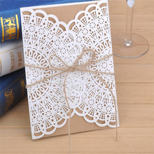 10pcs/set Sample Hollow Laser Cut Wedding Invitations Card Personalized Custom with Ribbon Free Envelope & Seals Party Supplies