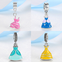 Silver Beads Charms 9 Styles European Lovely Princess Dress Dangle Pendant Fit Pandora Women Diy Bracelets & Bangles Jewelry