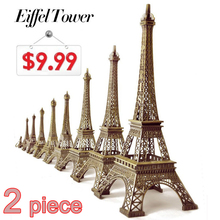 Hot Sale! 2pcs/set (22cm+18cm) Bronze Tone Paris Eiffel Tower Figurine Statue Antique Home Decoration Vintage Metal Crafts Model(China)