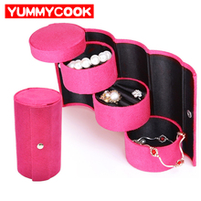 3 Layers Round Jewelry Storage Boxes Bins For Necklace Ring Earrings Bracelets Organizer Container Wholesale Bulk Lots Products(China)
