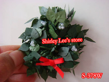Hot sale!!! 120X PRETTY Miniature Christmas wreath w/red bow , door decoration,XMAS candle ring (Free Shipping by EMS(China)