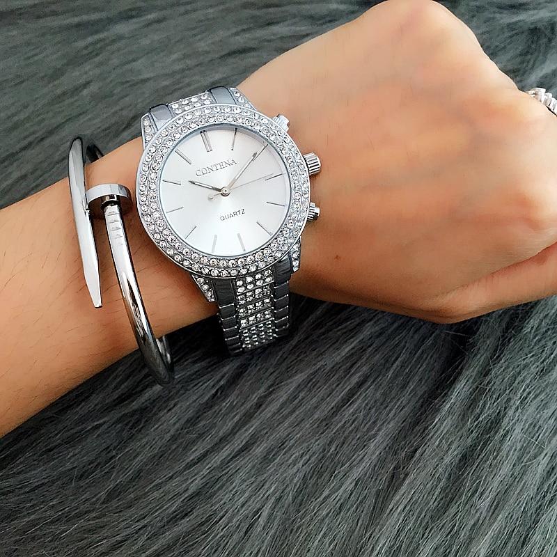 CONTENA Luxury Rhinestone Full Steel Quartz Watch Women Watches Fashion Silver Bracelet Watch Lady Hour montre homme reloj mujer<br><br>Aliexpress