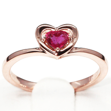 Natural Ruby Estate Solitaire Engagement Ring Jewelry 585 14K Rose Gold Genuine Ruby Heart Shape Gemstone Valentine Ring Gift