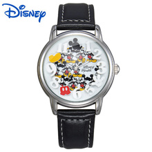 Disney Watch Mens Watches Top Brand Luxury Gold Black Leather Strap Quartz Mickey Mouse Watch Fashion Casual Relogio Masculino