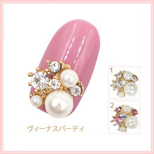 Luxury Japanese nail jewelry decoration 10pcs alloy rhinestones pearls nail art charm DIY nail metal glitter accessories