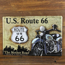 "NEW 2015  20x30cm metal tin signs "" ABOUT USA Route 66 and motorcycle ""  tinplate retro vintage metal painting wall home bar"