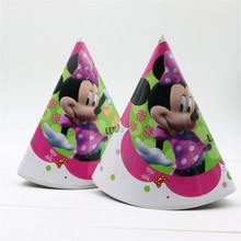 minnie mouse 6pcs/lot happy birthday party decoration supplies party caps theme party cocked hat with strings kids favor(China)