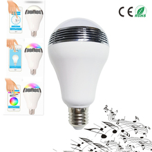 AC90V-240V 10W Audio Speakers Dimmable Speaker E27 Smart Colorful LED RGB Light Music Bulb Color Changing via WiFi App Control
