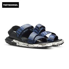 bc93aae893f 2018 Summer Men Beach Sandals Snake Brand Genuine Leather Thick Platform  Big Size Casual Holiday Male Shoes Ankle Strap Slippers