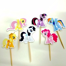 48pcs/lot My Little Pony Cupcake Toppers Cartoon Cake Decor Event Holiday Birthday Party Baby Shower Party Favors Supplies