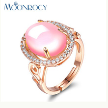 MOONROCY Free Shipping Cubic Zirconia Rose Gold Color Ross Quartz CZ Crystal Pink Opal Ring Jewelry Wholesale for Women Girls